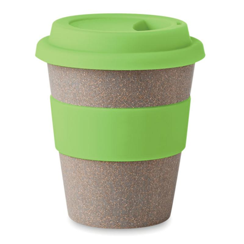 Promotional Bamboo Reusable Coffee Cup With Yellow Band and