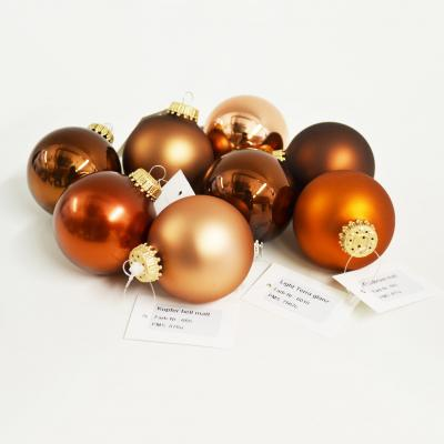Image of Promotional Christmas Glass Bauble 6 cm, Brown. Available in 60mm 70 mm 80mm