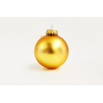 Image of Printed Christmas Glass Bauble 6 cm, Gold. Available in 60mm 70 mm 80mm