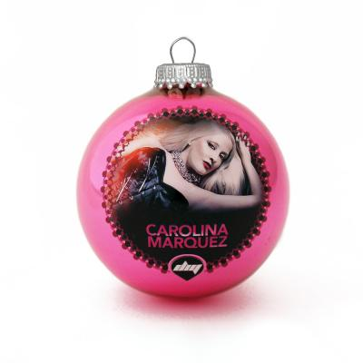 Image of Full Colour Printed Christmas Tree Glass Bauble 8cm Pink. Available In 60mm 70mm 80mm