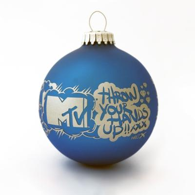 Image of Promotional Christmas Glass Bauble Blue 8cm. Available In 60mm 70mm 80mm