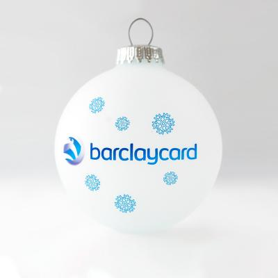 Image of Printed Christmas Tree Bauble 8cm White. Available in 60mm 70mm 80mm