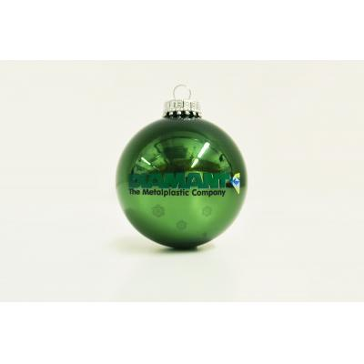 Image of Branded Christmas Tree Bauble 8cm Green. Available in 60mm 70mm 80mm