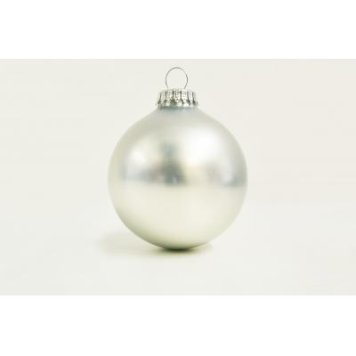 Image of Promotional Christmas Tree Glass Bauble 8cm Silver. Available In 60mm 70mm 80mm