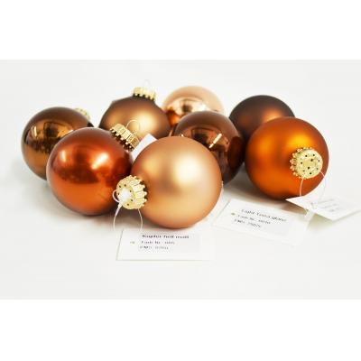 Image of Full Colour Printed Christmas Tree Bauble 8cm Brown. Available In 60mm 70mm 80mm