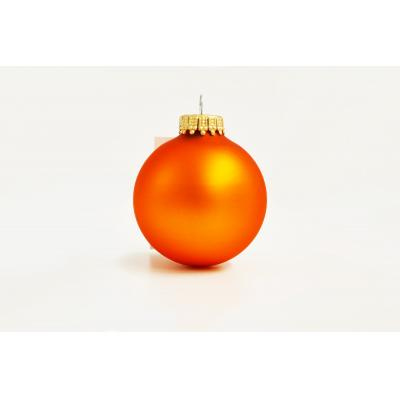 Image of Promotional Christmas Tree Glass Bauble 8cm Orange. Available In 60mm 70mm 80mm