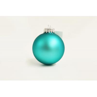 Image of Promotional Christmas Tree Glass Bauble 8cm Turquoise. Available In 60mm 70mm 80mm