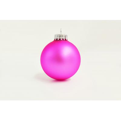 Image of Promotional Christmas Tree Glass Bauble 7cm Pink. Available In 60mm 70mm 80mm