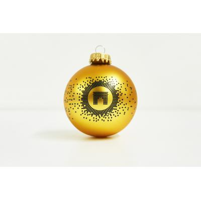 Image of Promotional Christmas Tree Glass Bauble 7cm Gold. Available In 60mm  70mm 80mm