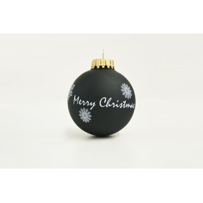 Image of Printed Christmas Tree Glass Bauble 7cm Black. Available In 60mm 70mm 80mm