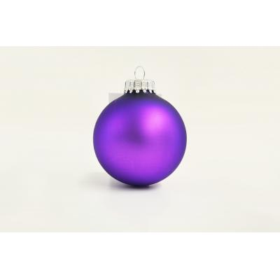 Image of Printed Christmas Tree Glass Bauble 7cm Purple. Available In 60mm 70mm 80mm