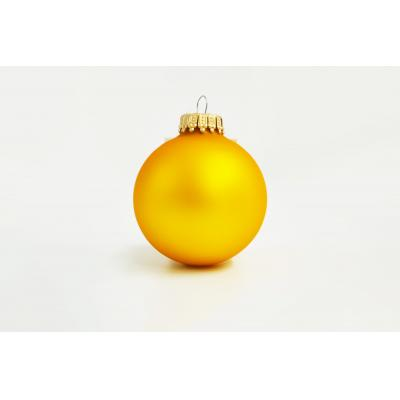 Image of Printed Christmas Tree Glass Bauble 7cm Yellow. Available In 60mm 70mm 80mm