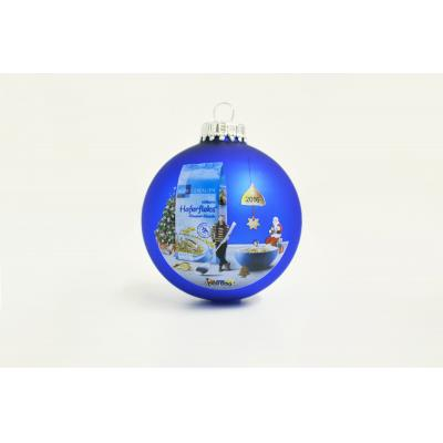 Image of Full Colour Printed Christmas Tree Bauble 7cm Blue. Available In 60mm 70mm 80mm