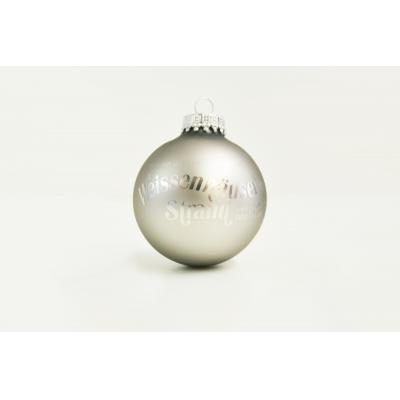 Image of Branded Christmas Tree Bauble 7cm Silver. Available In 60mm 70mm 80mm