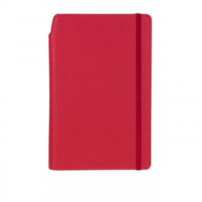 Image of Promotional Curve Notebook, PU A5 Notebook With Integrated Pen Slot, Pillar Box Red