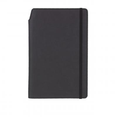 Image of Embossed Curve Notebook, PU A5 Notebook With Integrated Pen Slot, Black