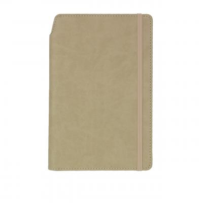 Image of Printed Curve Notebook, PU A5 Notebook With Integrated Pen Slot, Beige