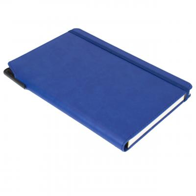 Image of Custom Printed Curve Notebook, PU A5 Notebook With Integrated Pen Slot, Blue