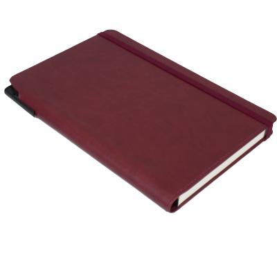 Image of Promotional Curve Notebook, PU A5 Notebook With Integrated Pen Slot, Burgundy