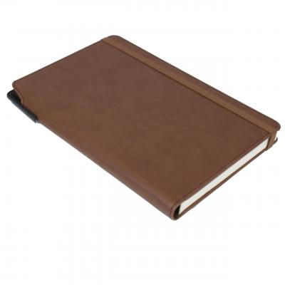 Image of Embossed Curve Notebook, PU A5 Notebook With Integrated Pen Slot, Chestnut Brown