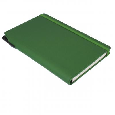Image of Embossed Curve Notebook, PU A5 Notebook With Integrated Pen Slot,Green