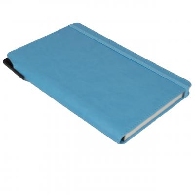 Image of Promotional Curve Notebook, PU A5 Notebook With Integrated Pen Slot, Light Blue