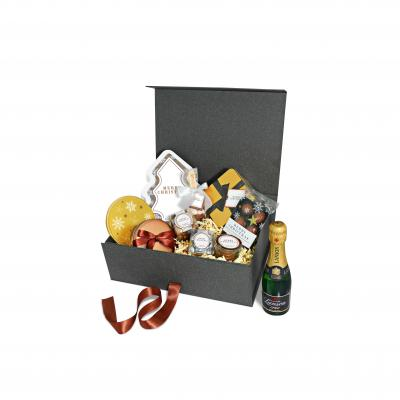 Image of Promotional Luxury Maxi Christmas Champagne And Chocolate Gift Box Hamper