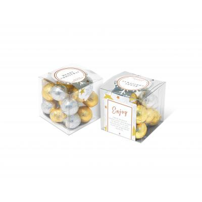 Image of Promotional Christmas Gift Cube Filled With Gold and Silver Foiled Chocolate Balls