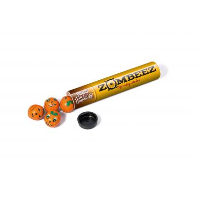 Image of Promotional Halloween Gift Tube Filled With Pumpkin Themed Wrapped Chocolate balls