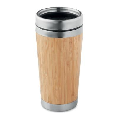 Image of Printed Bamboo Travel Mug, Promotional Reusable Coffee Cup, 400ml