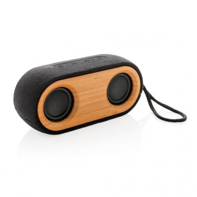 Image of Promotional Double X Bamboo Wireless Speaker