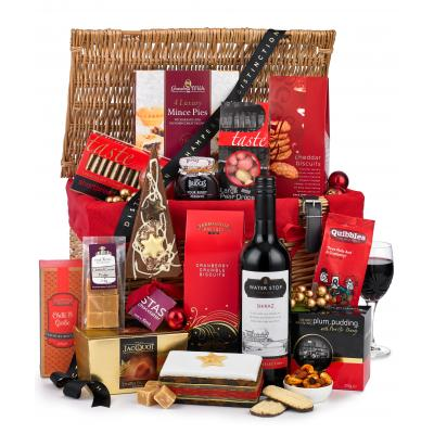 Image of Promotional Christmas Festive Hamper with Wine Presented In Wicker Basket