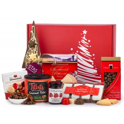 Image of Branded Christmas Festive Treat Hamper Presented In Luxury Red Gift Box