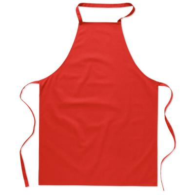 Image of Promotional 100% Cotton Apron Red, Low Cost Branded Apron