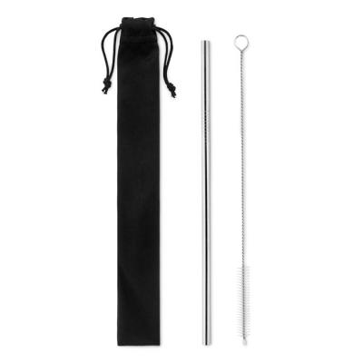 Image of Promotional reusable stainless steel straw presented in a gift pouch