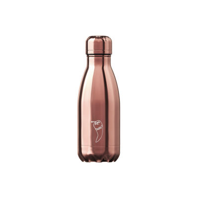 Image of Branded Chilly's Bottle Metallic Rose Gold 260ml, Official Chilly's Bottles