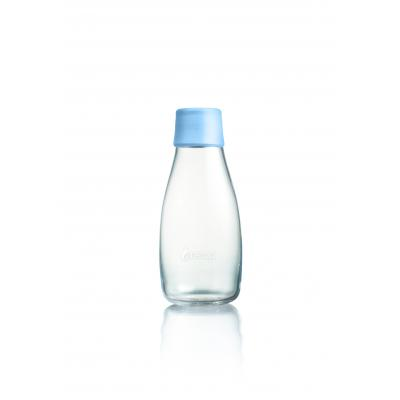 Image of Promotional Retap glass water bottle 300ml with baby blue lid