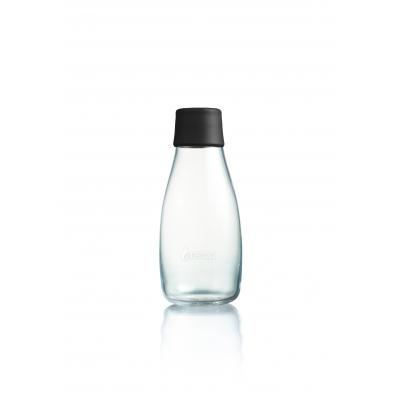 Image of Branded Retap glass water bottle 300ml with black lid