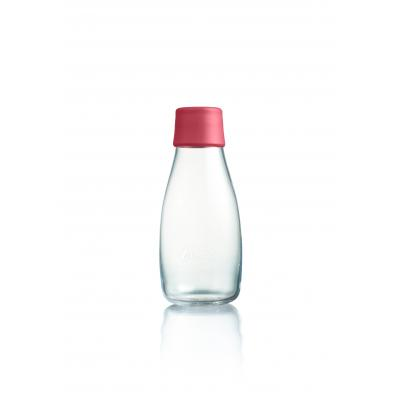 Image of Printed Retap glass water bottle 300ml with raspberry pink lid