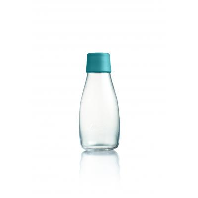 Image of Promotional Retap glass water bottle 300ml with Petroleum Green lid