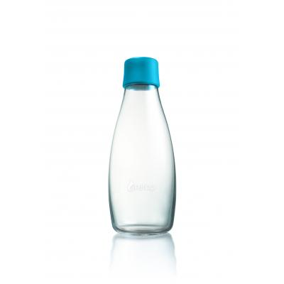 Image of Printed Retap glass water bottle 500ml with Light Blue lid