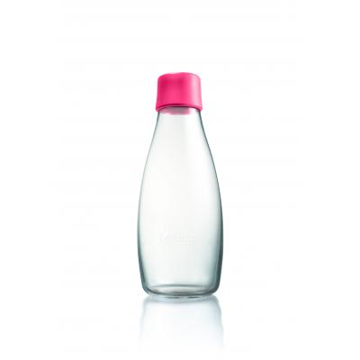 Image of Promotional Retap glass water bottle 500ml with Pink lid