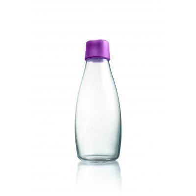 Image of Branded Retap glass water bottle 500ml with Purple lid