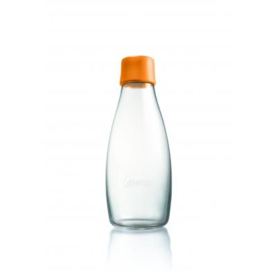 Image of Printed Retap glass water bottle 500ml with Orange lid