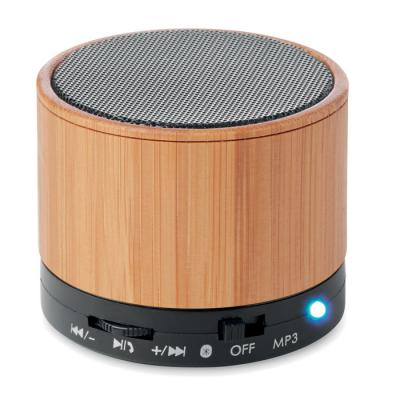 Image of Promotional Bluetooth Bamboo Round Speaker With LED Light