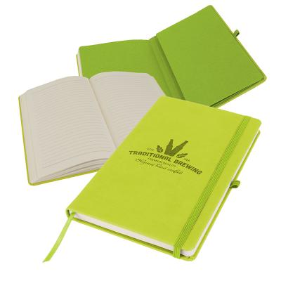 Image of Embossed Primo A5 Notebook with PU cover, Lime Green