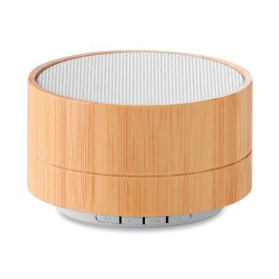 Image of Promotional round bluetooth speaker with bamboo casing