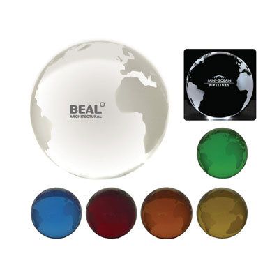 Image of Coloured Optical Crystal Globe Paperweight 80mm Diameter Globe