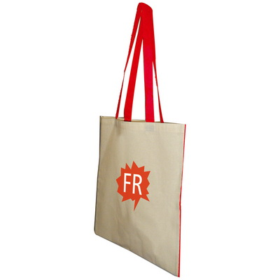 Image of Branded Kasa Cotton Bag. Printed Cotton Cotton Bag With Coloured Handles
