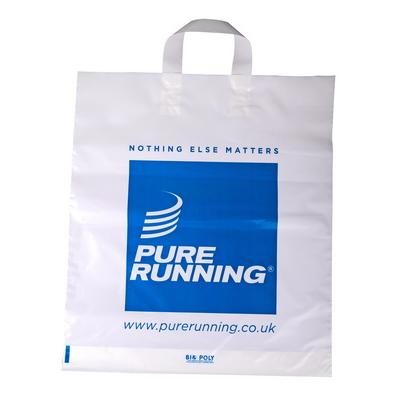 Image of Promotional Bags; Flexi Loop Handle Polythene Carrier Bag printed with your brand, design or logo